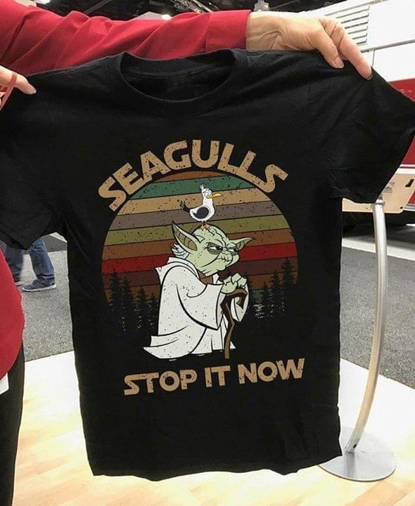 Vintage Star Wars Yoda Funny Saying Seagulls Stop It Now cotton t-shirt Hoodie Mug