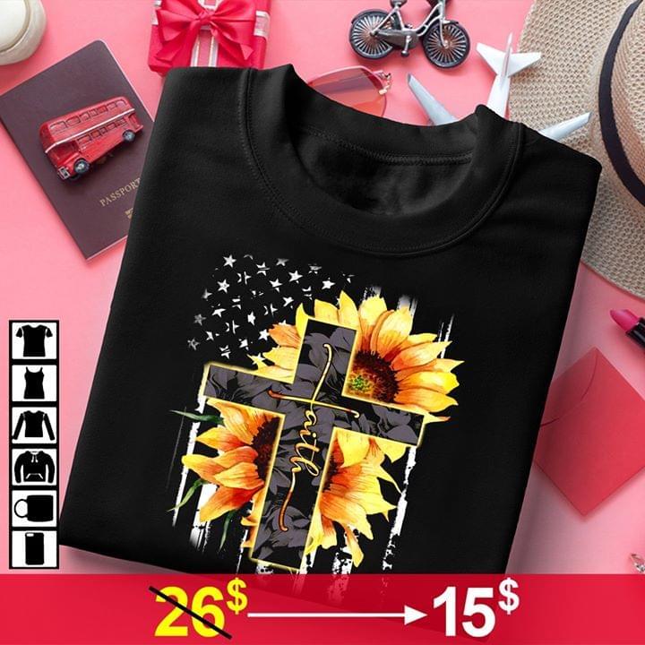 Jesus Cross Faith Sunflower God Us Flag For Lovers cotton t-shirt Hoodie Mug