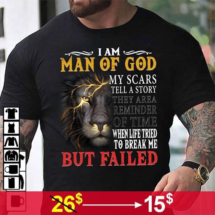 Lion Man Of God Life Tried To Break Me But Failed cotton t-shirt Hoodie Mug