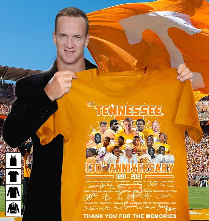 The Tennessee Volunteers 130th Anniversary Signatures For Football Fan cotton t-shirt Hoodie Mug