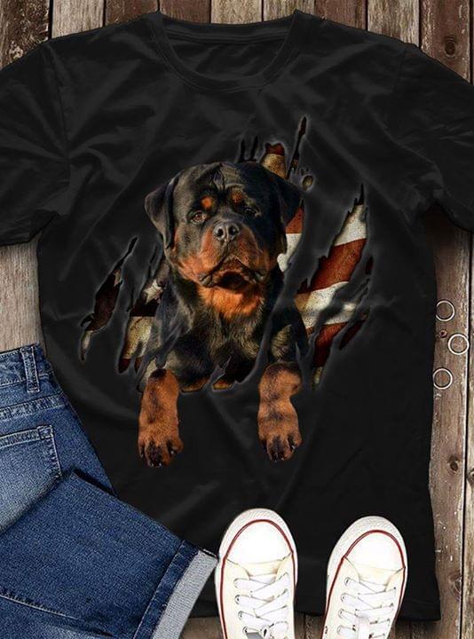 Rottweiler Us Flag Shirts Split For Dogs Lovers cotton t-shirt Hoodie Mug