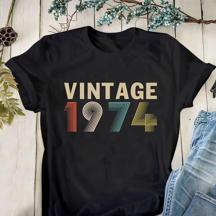 Vintage 1974 46th Birthday 46 Years Old Gifts cotton t-shirt Hoodie Mug