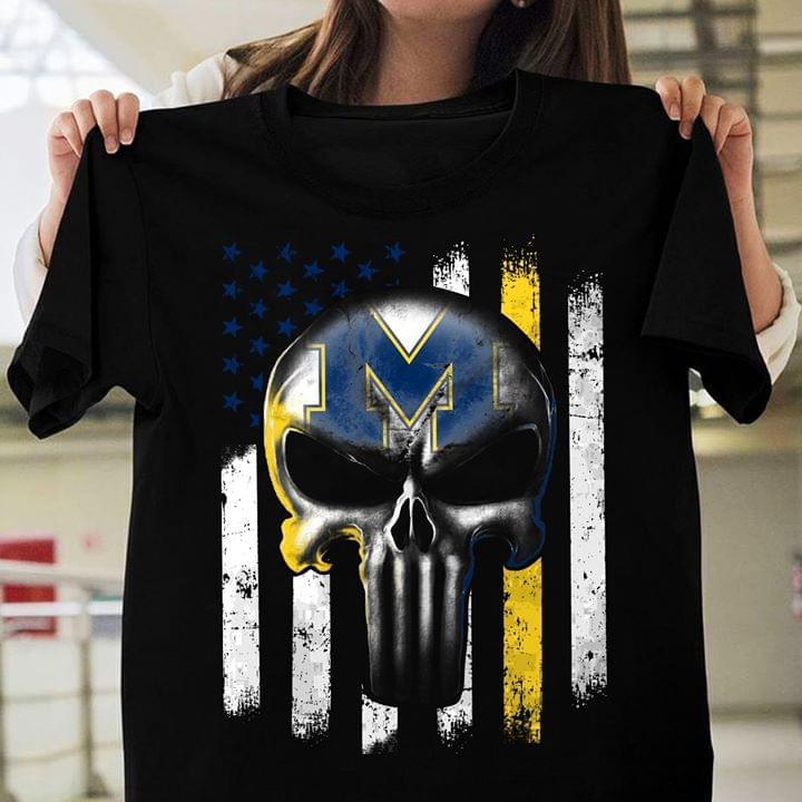 Michigan Wolverines Skull Us Flag For Fan cotton t-shirt Hoodie Mug