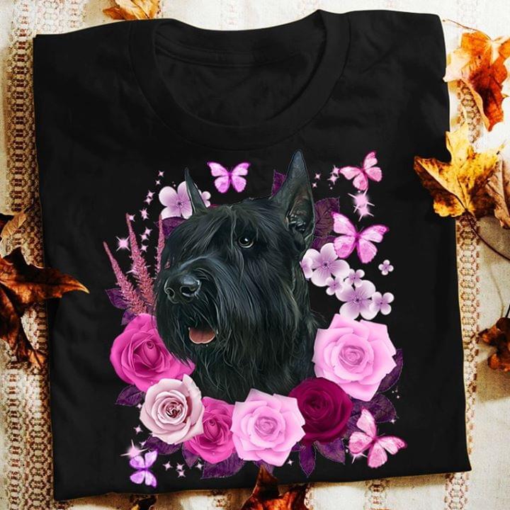 Schnauzer Rose Butterflies For Lovers cotton t-shirt Hoodie Mug