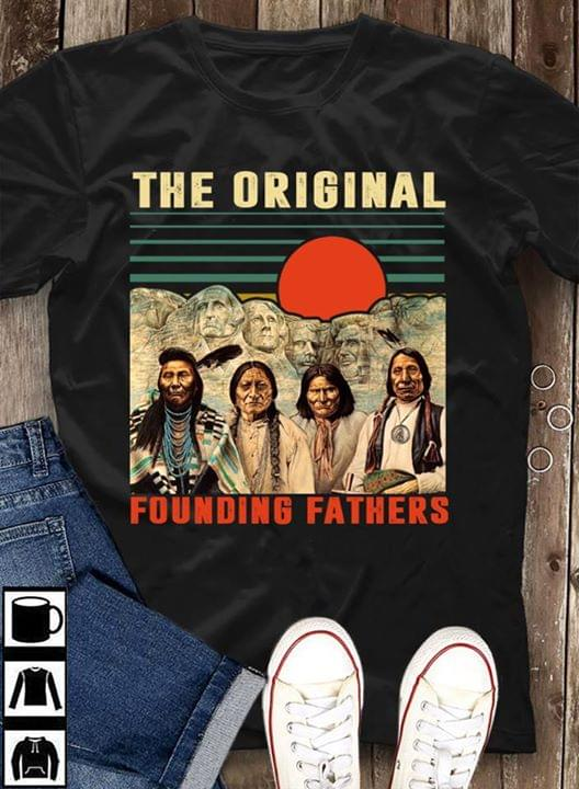 Native American The Original Founding Fathers Mount Rushmore Vintage For Lovers cotton t-shirt Hoodie Mug