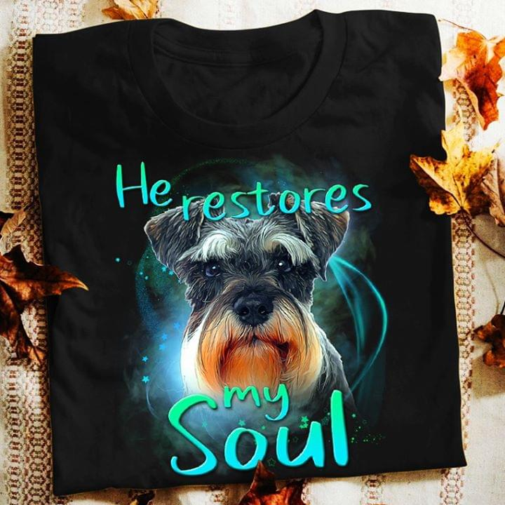 Schnauzer He Restores My Soul For Lovers cotton t-shirt Hoodie Mug