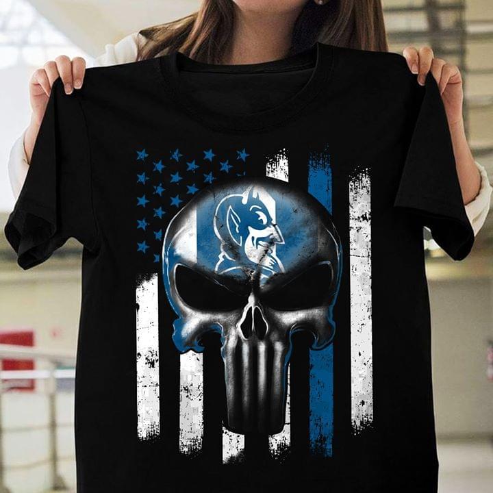 Back The Blue Punisher Skull Usa Flag cotton t-shirt Hoodie Mug