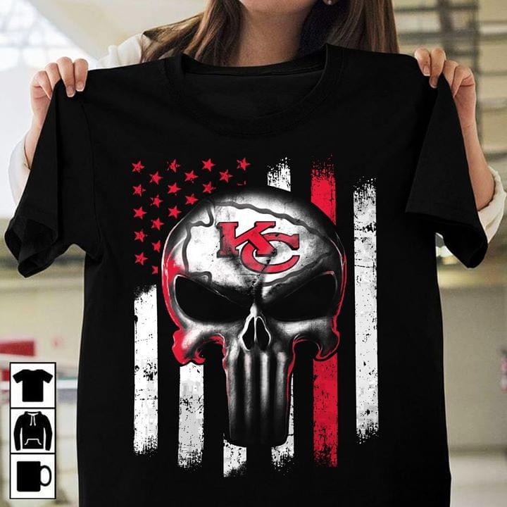 Kansas City Chiefs Punisher Skull Us Flag For Football Fan cotton t-shirt Hoodie Mug