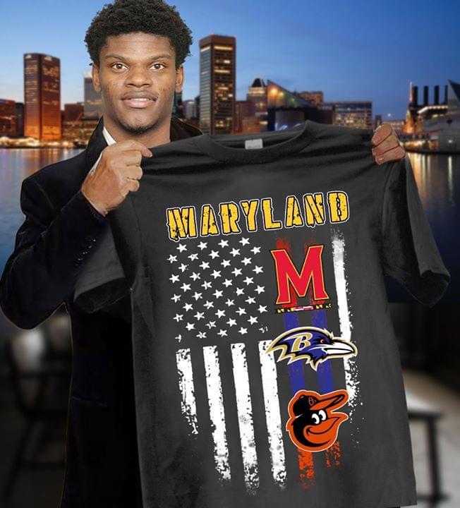 Maryland Sport Teams Baltimore Ravens Baltimore Orioles American Flag For Fan cotton t-shirt Hoodie Mug