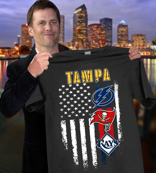Tampa City Tampa Bay Lightning Tampa Bay Rays Tampa Bay Buccaneers Us Flag For Fan cotton t-shirt Hoodie Mug