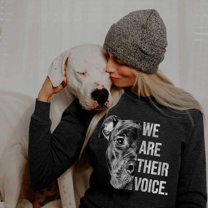 Pit Bull We Are Their Voice For Lovers cotton t-shirt Hoodie Mug