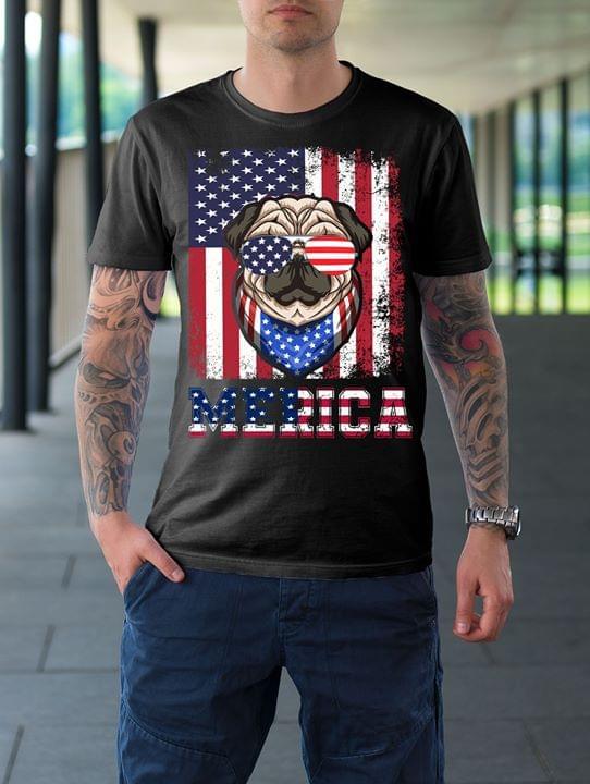 Pug Merica American Glasses Flag For Lovers cotton t-shirt Hoodie Mug