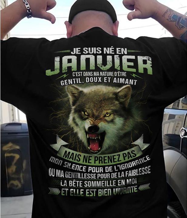 Je Suis N? En Janvier Cest Dans Ma Nature D?tre Gentil Doux Et Aimant Scary Wolf cotton t-shirt Hoodie Mug