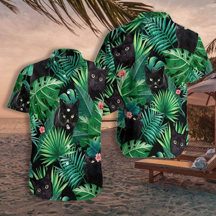 Black Cat Tropical Style For Cat Lover 3d Printed Shirt 3d shirt hoodie sweatshirt
