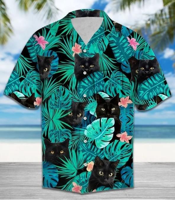 Black Cat Vintage Hawaiian Beach Summer Vacation 3d shirt hoodie sweatshirt