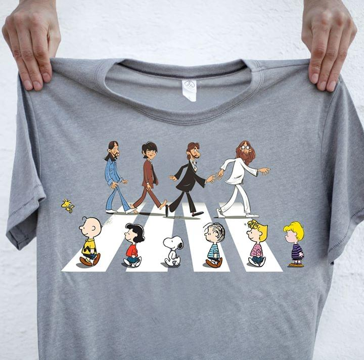 The Beatles See Snoopy Woodstock Peanuts Friends Abbey The Road Funny For Fan cotton t-shirt Hoodie Mug