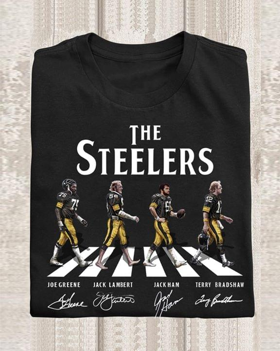 The Pittsburgh Steelers Legends Joe Greene Jack Lambert Jack Ham Terry Bradshaw Abbey Road Signed For Fan cotton t-shirt Hoodie Mug