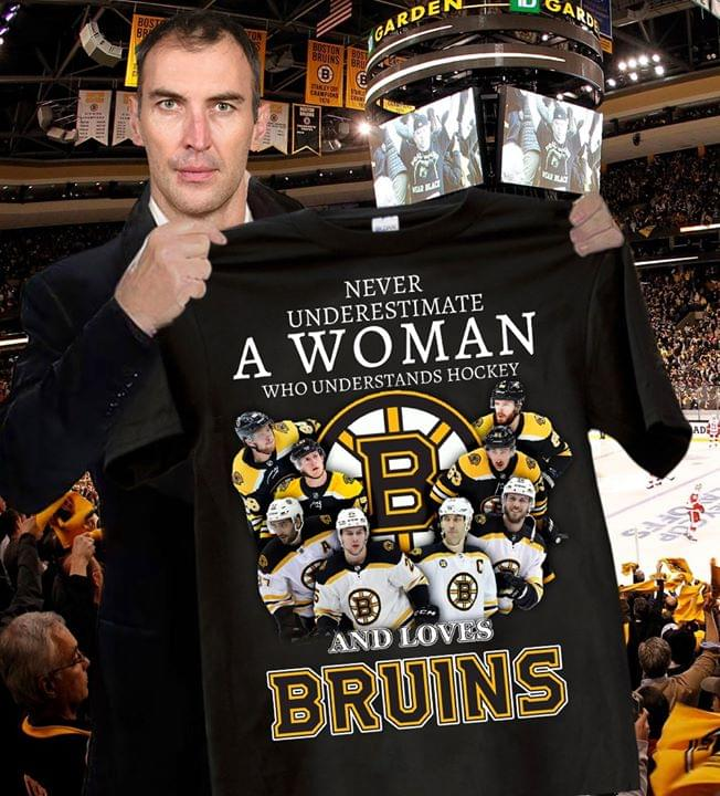 Never Underestimate A Woman Who Understands Hockey And Loves Boston Bruins For Fan cotton t-shirt Hoodie Mug