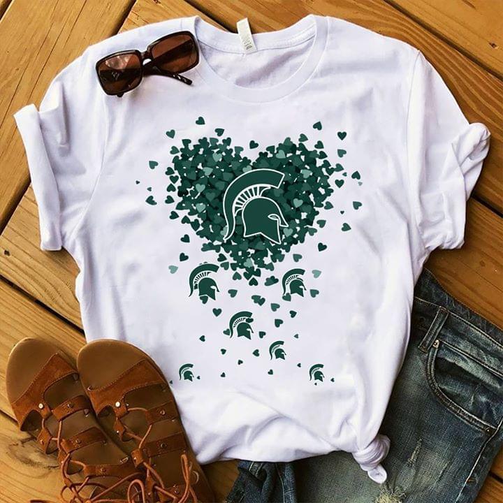 Michigan State Spartans Logo Glitter Heart For Fan T Shirt cotton t-shirt Hoodie Mug