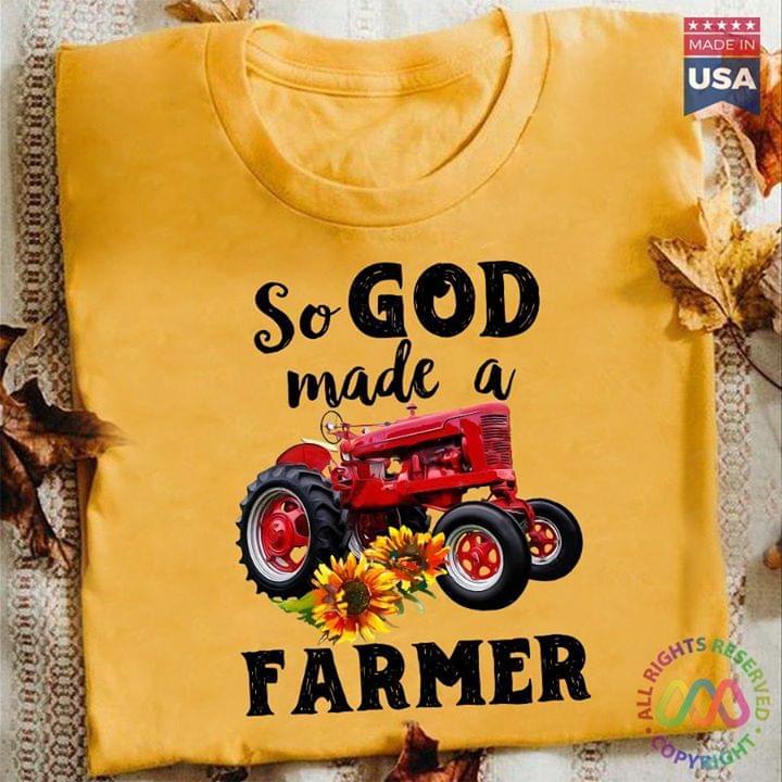 Tractor So God Made A Farmer T Shirt cotton t-shirt Hoodie Mug