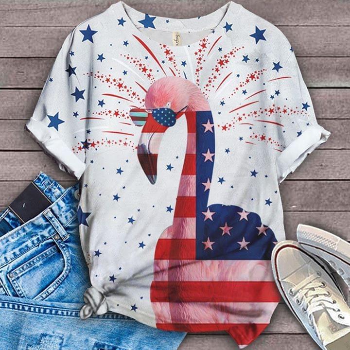 Us Flag Flamingos Firework cotton t-shirt Hoodie Mug