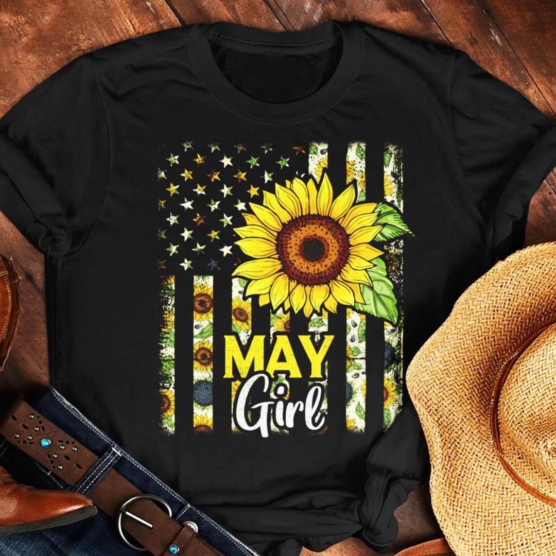 Us Flag Sunflower May Girl cotton t-shirt Hoodie Mug