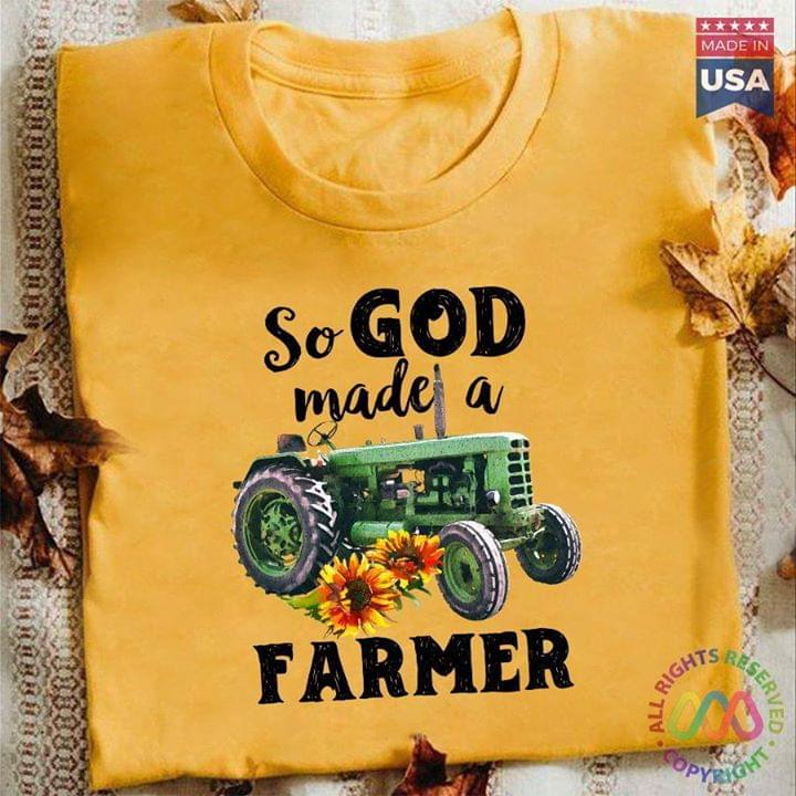 So God Made A Farmer Tractor For Lovers cotton t-shirt Hoodie Mug