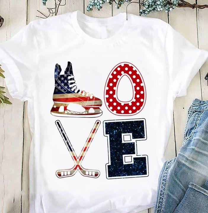 Love Ice Hockey American Version cotton t-shirt Hoodie Mug