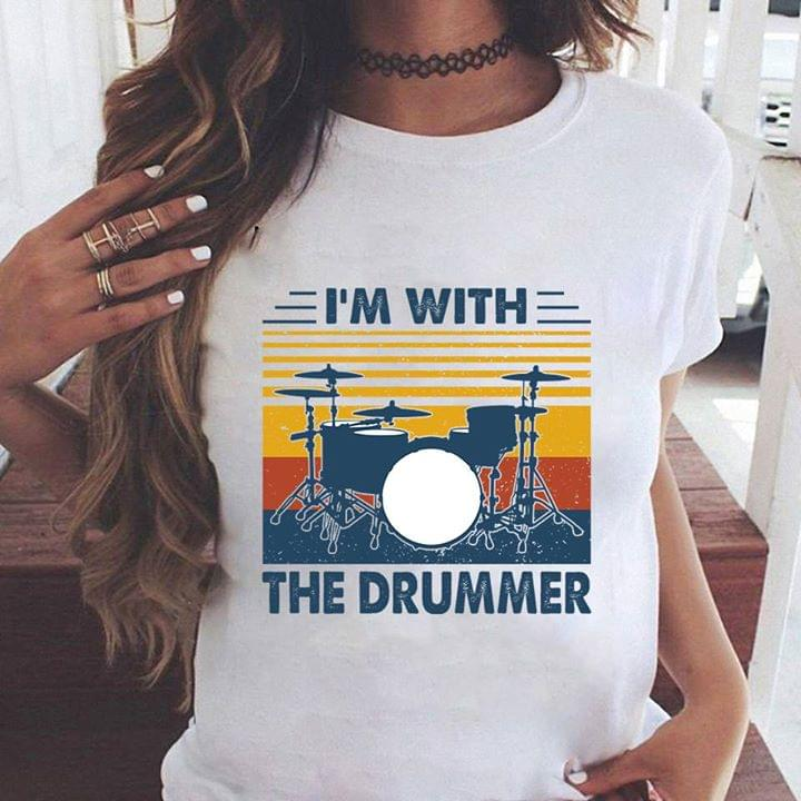 Vintage Im With The Drummer Instrument Music Lovers cotton t-shirt Hoodie Mug