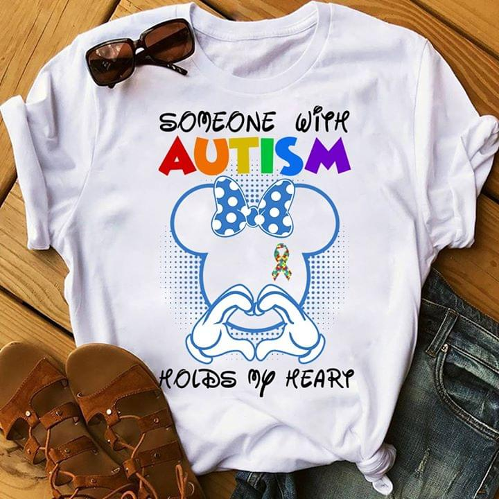 Someone With Autism Holds My Heart Mickey Mouse cotton t-shirt Hoodie Mug