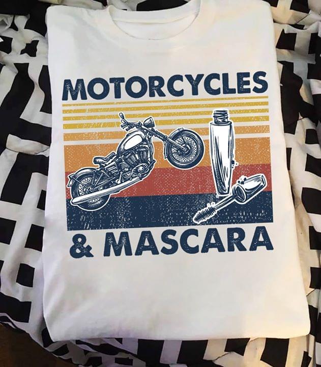 Motorcycles And Mascara For Girl Biker Vintage cotton t-shirt Hoodie Mug
