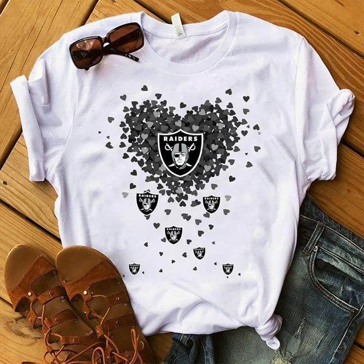 Las Vegas Raiders Logo Heart Shaped For Football Fan cotton t-shirt Hoodie Mug