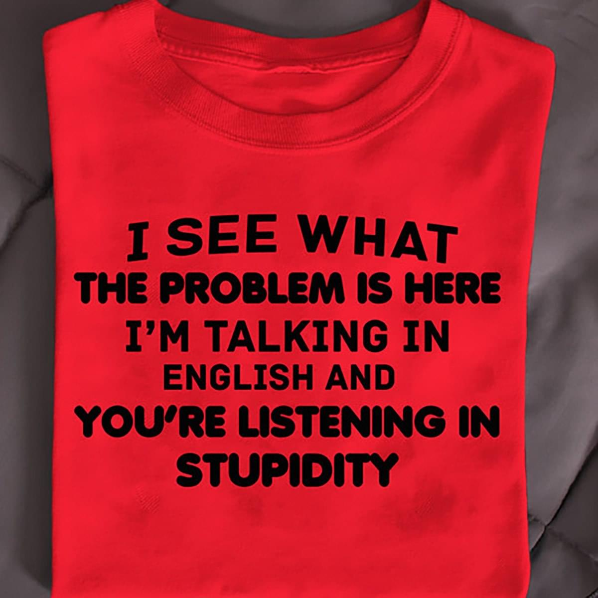 I See What The Problem Is Here Im Talking In English And Youre Listening In Stupidity Funny cotton t-shirt Hoodie Mug