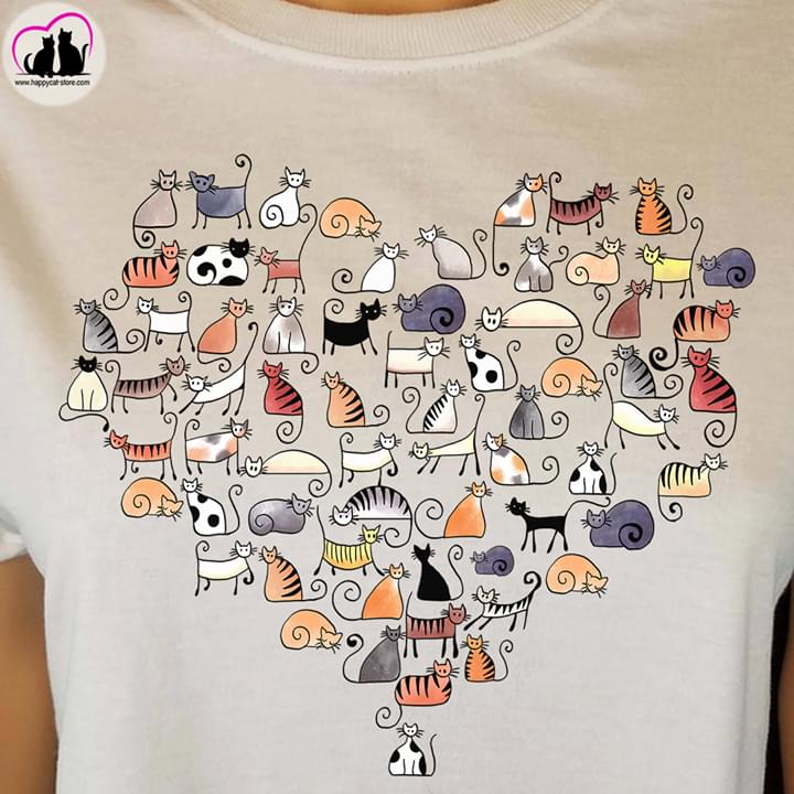Cute Cats Drawings Heart Shape For Cat Lover cotton t-shirt Hoodie Mug