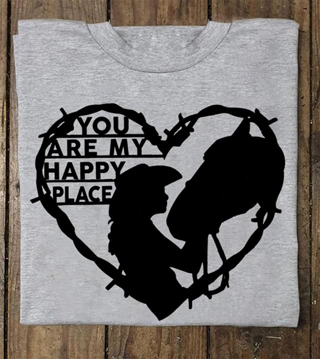 Woman Loves Horse You Are My Happy Place Heart Shaped cotton t-shirt Hoodie Mug
