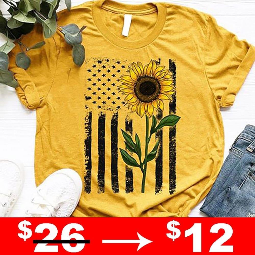 Usa Flag Sunflower cotton t-shirt Hoodie Mug