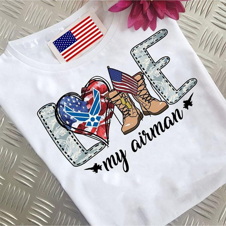 Us Air Force Love My Airman American Flag cotton t-shirt Hoodie Mug
