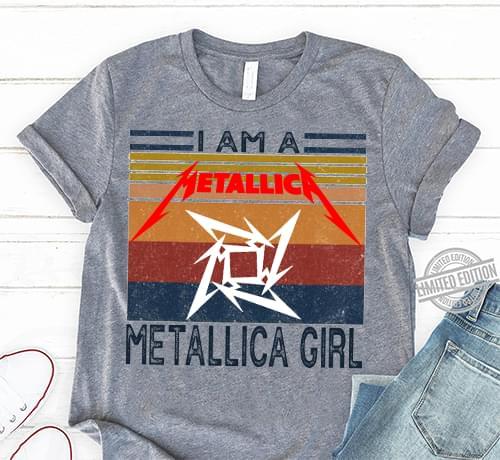 Vintage I Am A Metallica Girl Music Band Gifts For Fan cotton t-shirt Hoodie Mug
