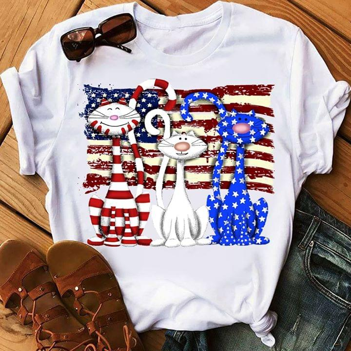 Us Flag Three Color Cat Independence 4th July cotton t-shirt Hoodie Mug