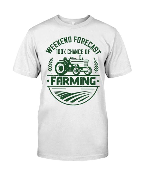 Weekend Forecast 100 Percent Chance Of Farming For Lovers cotton t-shirt Hoodie Mug