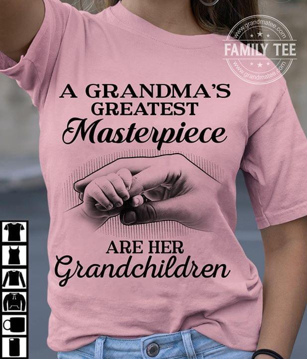A Grandmas Greatest Masterpiece Are Her Grandchildren cotton t-shirt Hoodie Mug