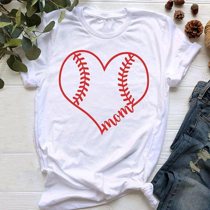 Baseball Mom Ladies Sport Player With Heart cotton t-shirt Hoodie Mug