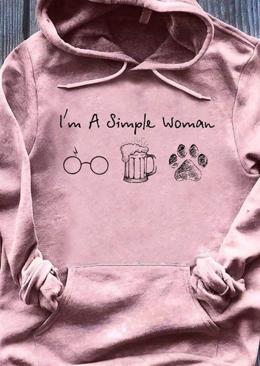 I Am A Simple Womani Like Harry Potter Beer And Paw Dog cotton t-shirt Hoodie Mug