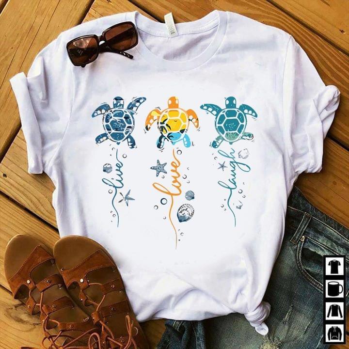 Ocean Turtle Live Love Laugh Colorful cotton t-shirt Hoodie Mug