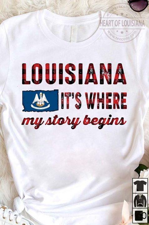 Louisianav State Logo Its Where My Story Begins cotton t-shirt Hoodie Mug