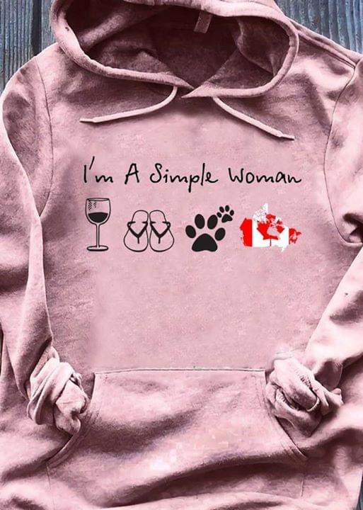 Im A Simple Woman Wine Flip Flops Cat Paw Canadian Flag Map cotton t-shirt Hoodie Mug