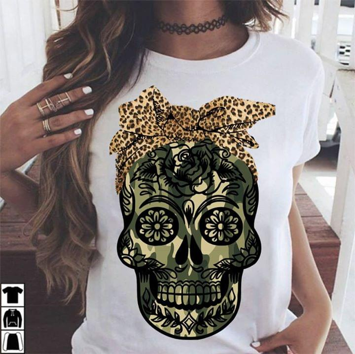 Sugar Skull Lady Camouflage Style T Shirt cotton t-shirt Hoodie Mug