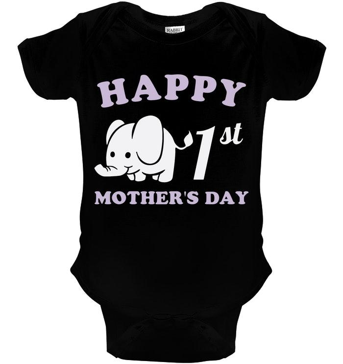 Happy 1st Mothers Day Black Rabbit Skins Baby Onesie