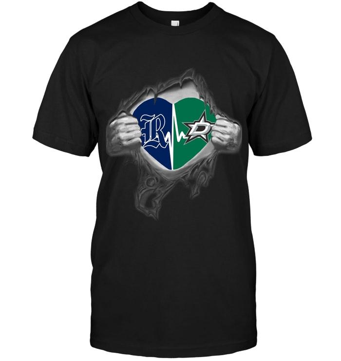 Rice Owls Dallas Stars Love Heartbeat Ripped Shirt