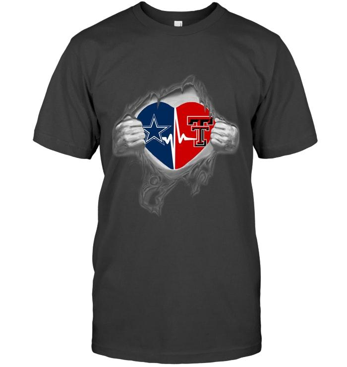 Dallas Cowboys Texas Tech Red Raiders Love Heartbeat Ripped Shirt